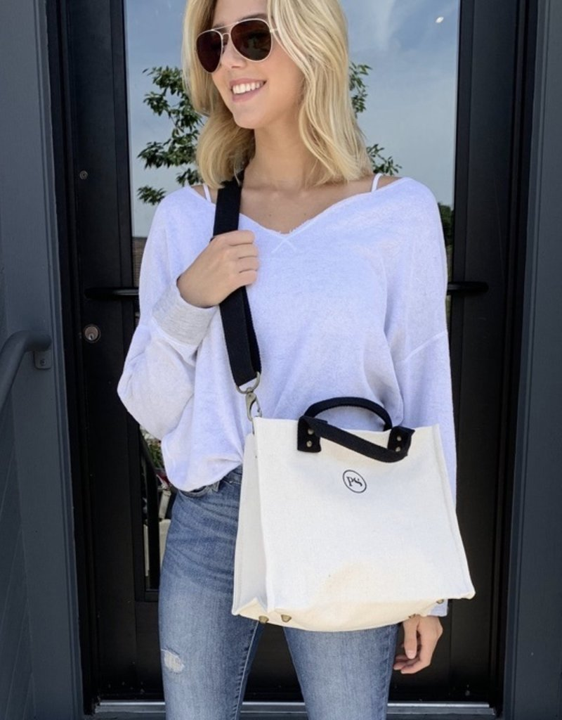 Cream Canvas Crossbody