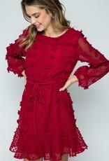 Red Pom Longsleeve Dress