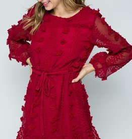 Red Pom Longsleeve Dress