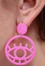 Tumnus Hammered Neon Evil Eye Earring