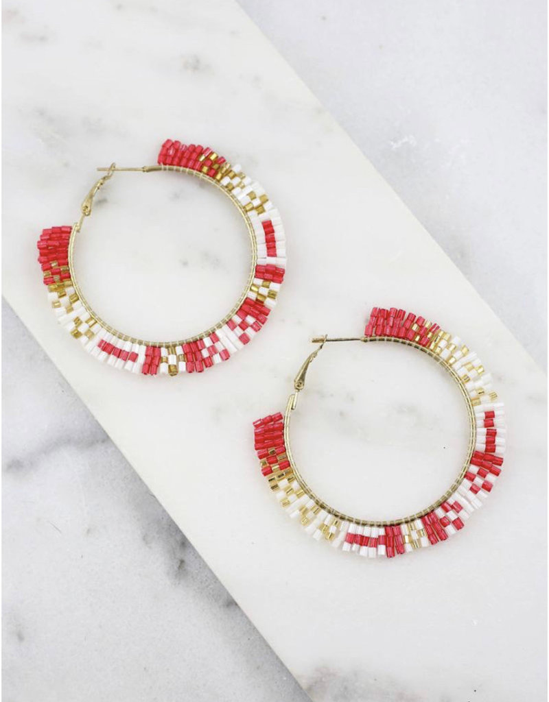 Corey Red Beaded Hoop
