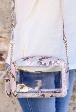Rylee Clear Bag Pink Snake
