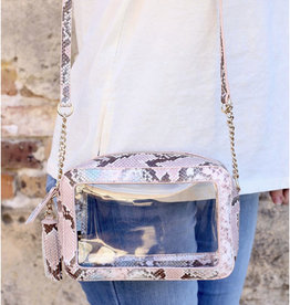 Rylee Clear Bag Pink Snake