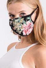 Black Floral Mask