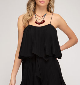 Black Pleated Romper