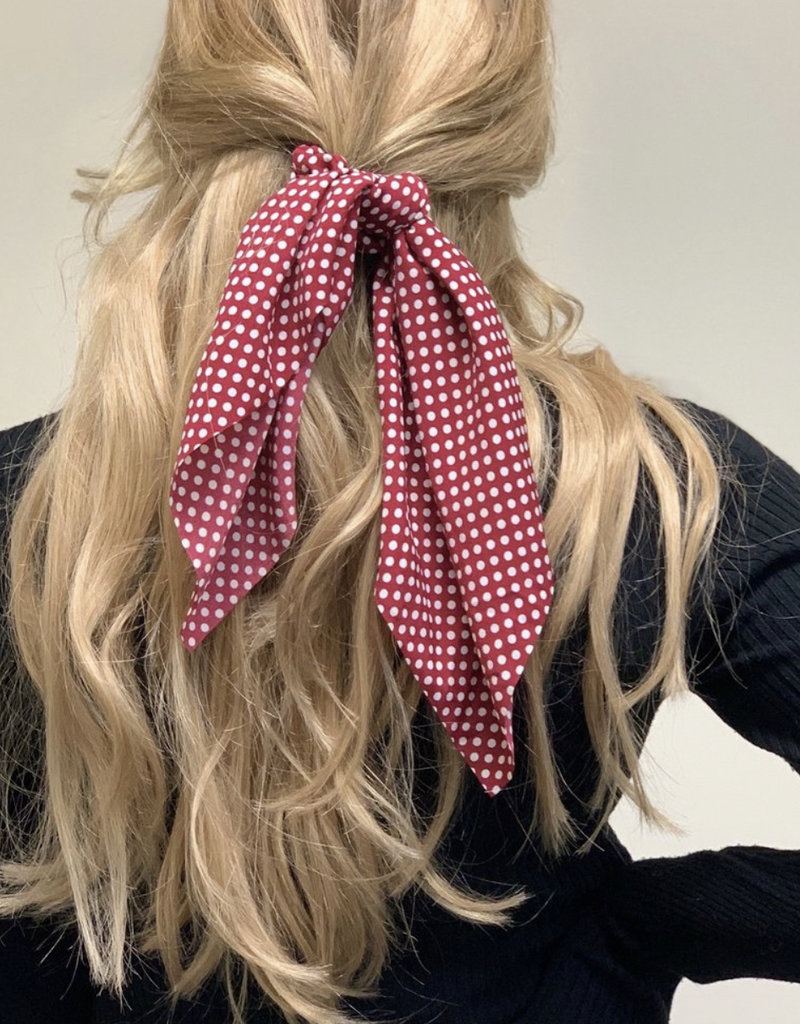 Red Polka Dot Hair Scarf