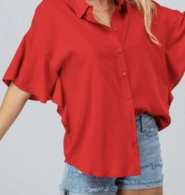 Tomato Button Down Top