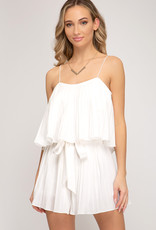 White Pleated Romper