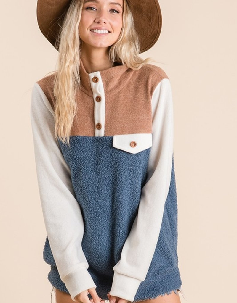 Blue Button Pullover