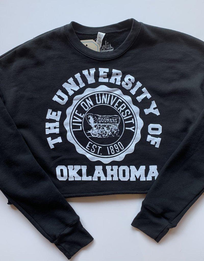 Live On Badge Cropped Sweatshirt