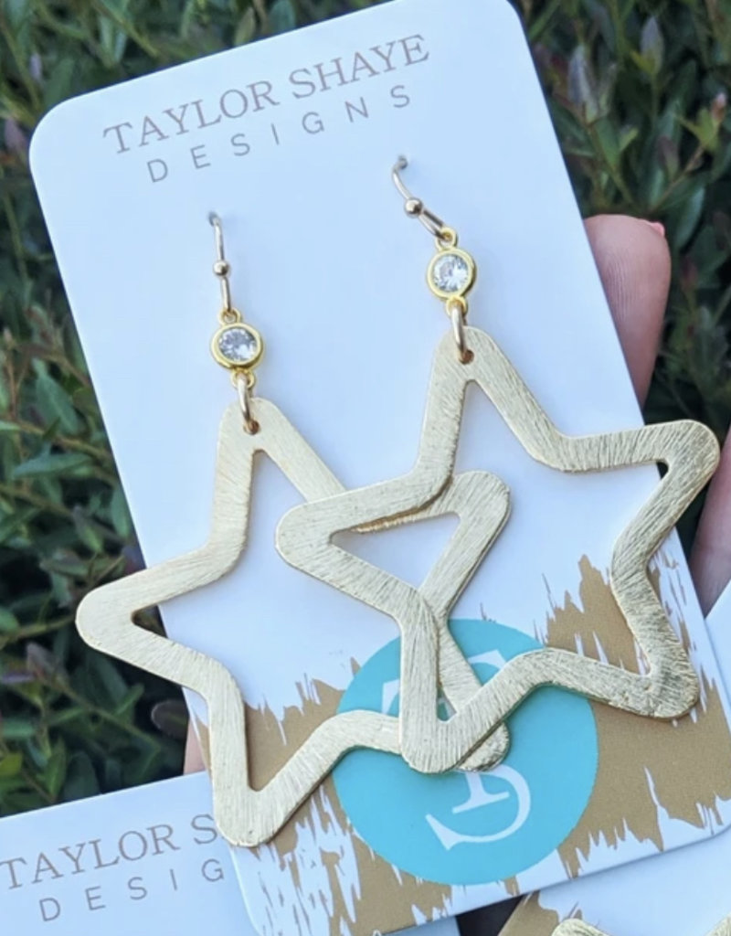 Brushed Gold Star Earring