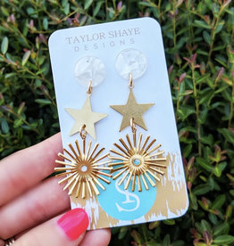 Double Star Drop Earring