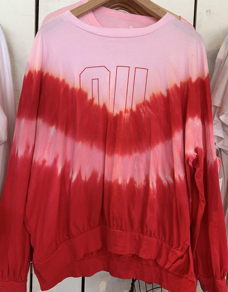 Red OU V Tie Dye Longsleeve