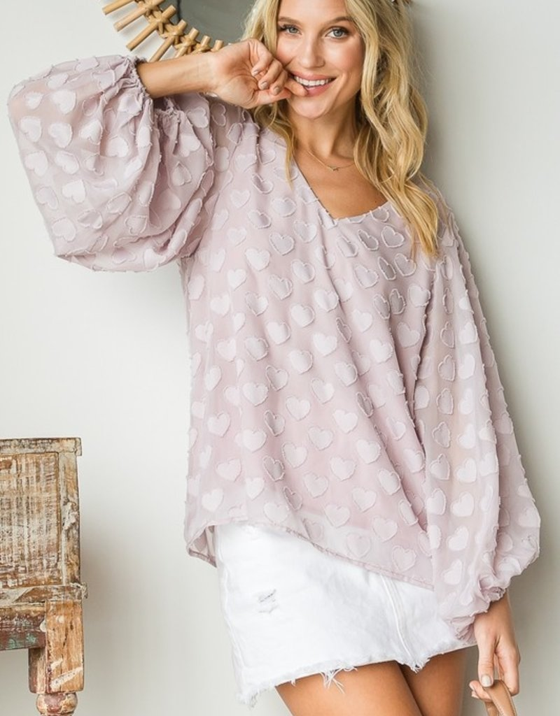 Hearts For Days Blush  Blouse