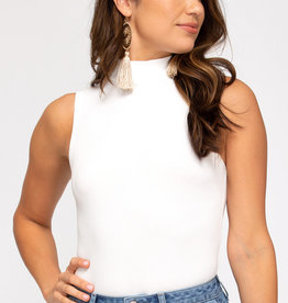 White Mock Neck Bodysuit