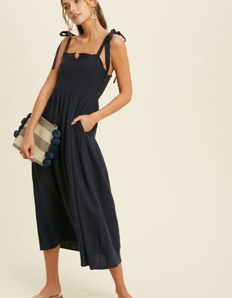Navy Smocked Midi Dress