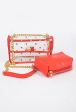 Clear and Red Stud Purse