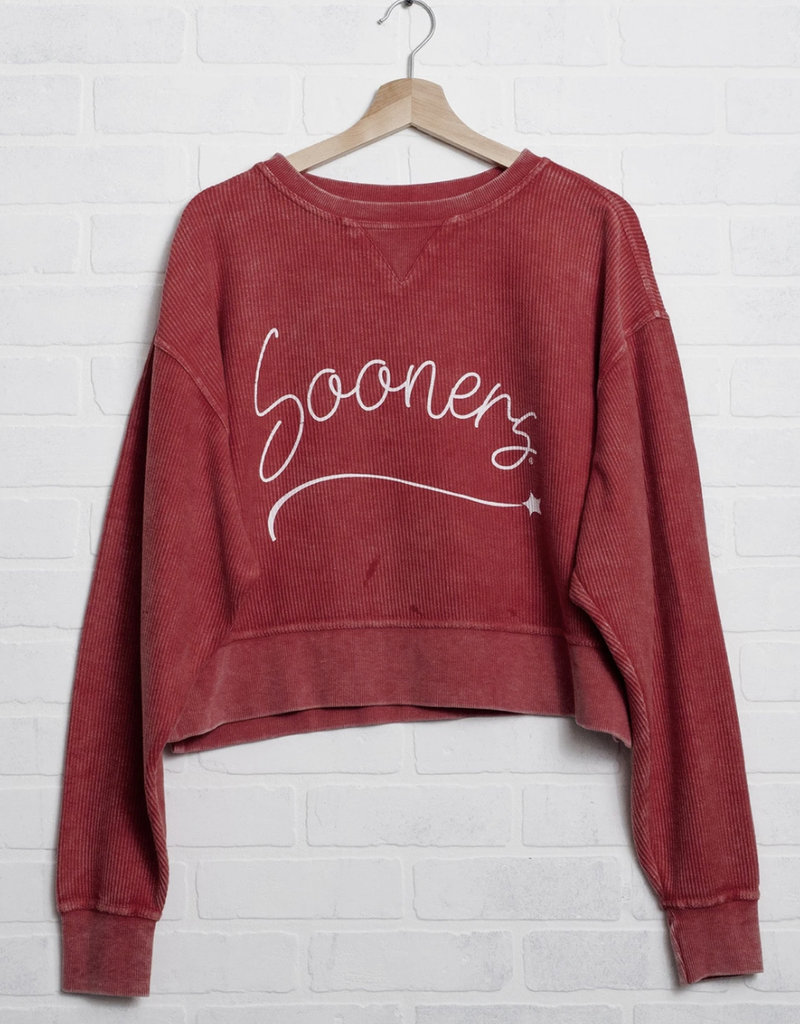 Sooners Girly Star Red Corded Cropped Sweatshirt