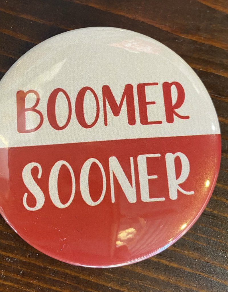 Boomer Sooner White and Red Button