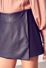 Vegan Leather Wrap Skort