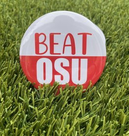 Beat OSU Button White and Red