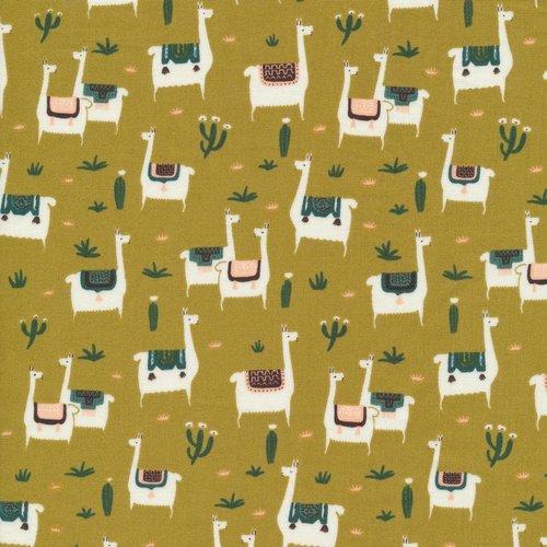 Cloud 9 Fabrics Llama Life in Mustard Organic