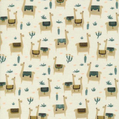 Cloud 9 Fabrics Llama Life in Ivory Organic