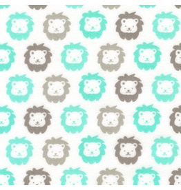 Robert Kaufman Lions in Mint Flannel