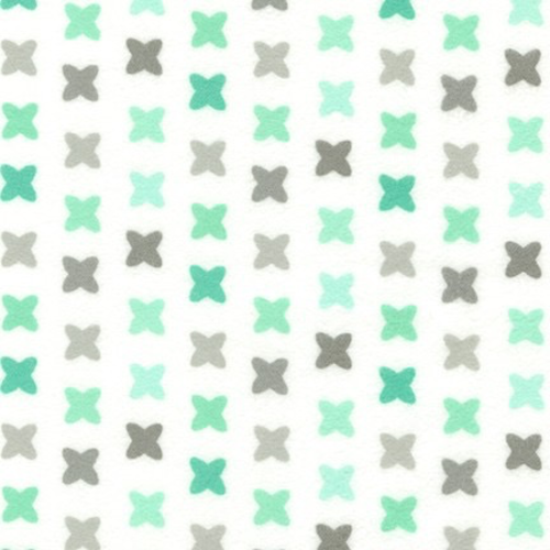 Robert Kaufman Cross Stitch in Mint Flannel