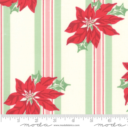 Moda Poinsettia Stripe in Marzipan
