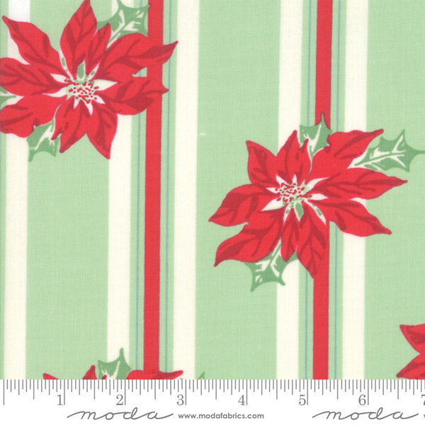 Moda Poinsettia Stripe in Spearmint