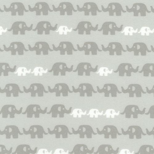 Robert Kaufman Elephants in Grey Flannel
