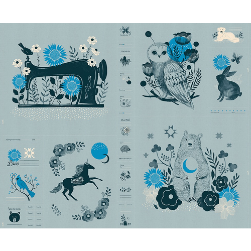 "Moda Forest Panel in Soft Blue 36""x44"""