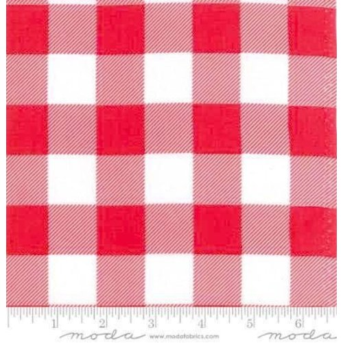 "Moda Buffalo Check in Red/White 108"" Wide Back"