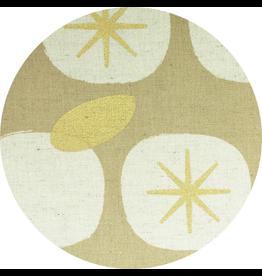 Kokka SALE Persimmons Linen Canvas in Metalic Gold