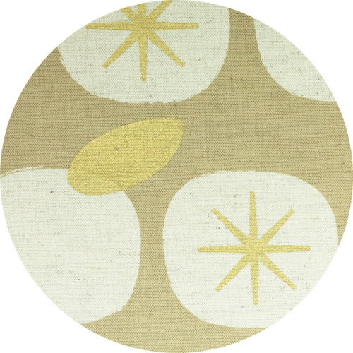 Kokka SALE Persimmons Linen Canvas in Metalic Gold
