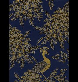 Cotton + Steel Royal Peacock Canvas in Navy Metallic