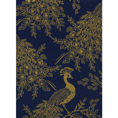 Cotton + Steel Royal Peacock Canvas in Navy Metallic