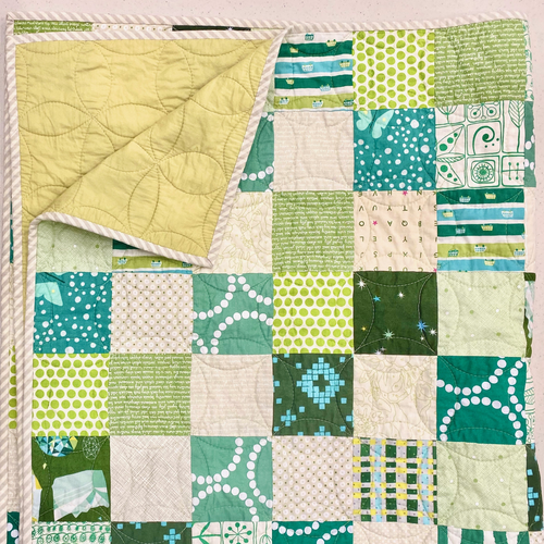 "SAMPLE SALE - Green Patchwork Quilt - 45"" x 54"""