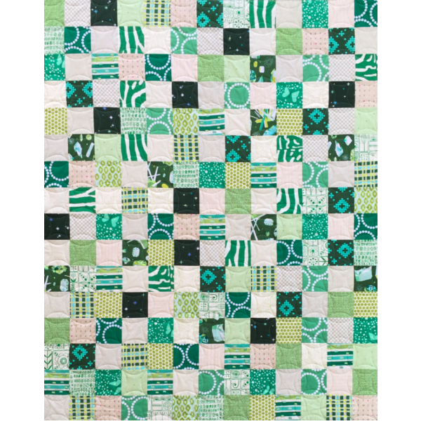 "SAMPLE SALE - Green Patchwork Quilt - 45"" x 54"""