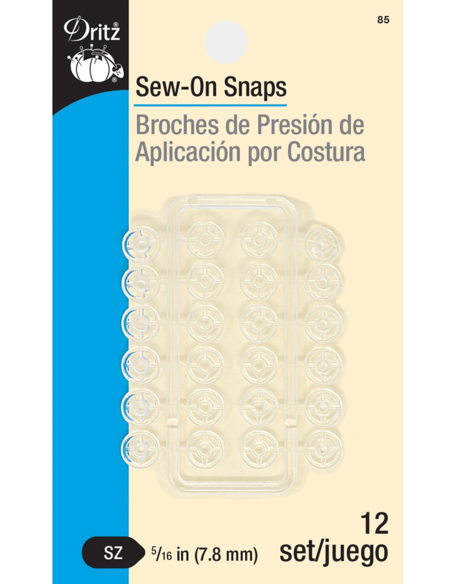 """Dritz Clear Sew-On Snaps 5/16"""""""