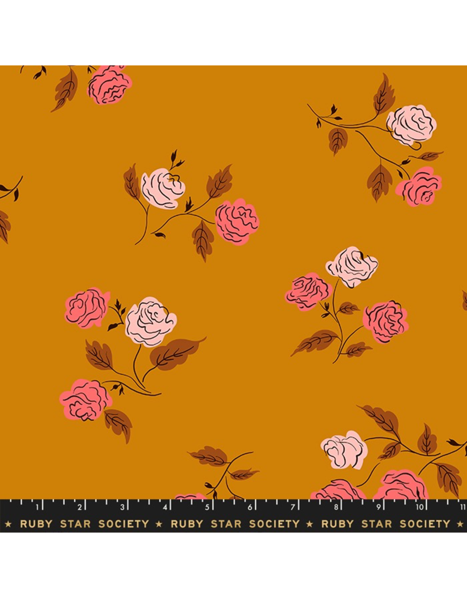 Ruby Star Society Steno Roses in Caramel Rayon