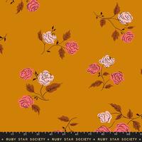 Ruby Star Society Steno Roses in Caramel Rayon