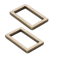 """By Annie Rectangle Rings Flat 1"""" Antique Brass 2ct"""