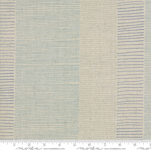 Fine Lines Mochi Linen in Flax/Blue