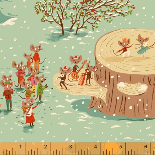 Christmas Mice in Aqua on Flannel