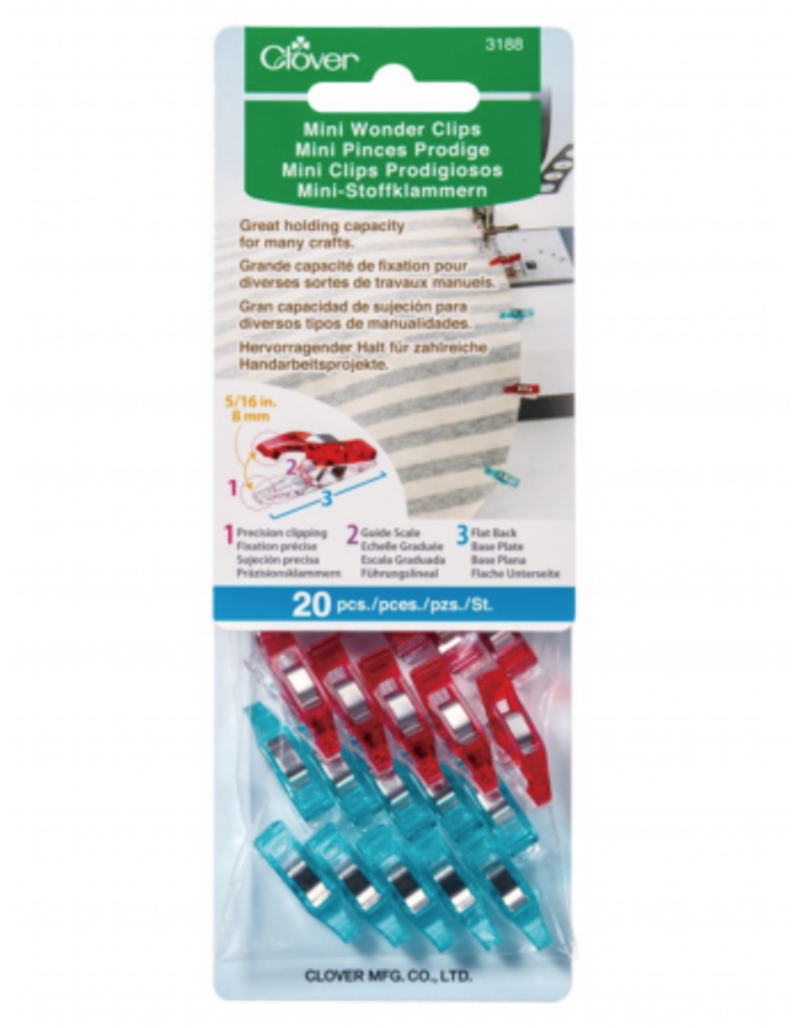 Clover Mini Wonder Clips in Red/Blue 20 pc