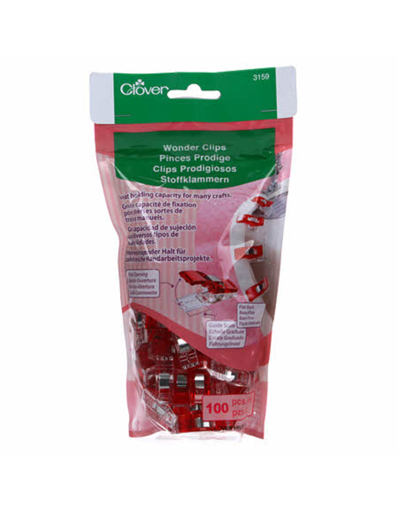 Clover Wonder Clips in Red 100 pc