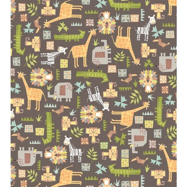 Blank Quilting Mixed Animals Flannel n Brown
