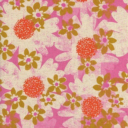 Cotton + Steel Daisy Fields in Pink Canvas